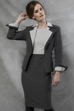 Business Jacket with Mini Dots in Black and Off-White  - Joan