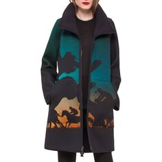 Akris Jenko Turf-Print Neoprene Parka ($3,590) ❤ liked on Polyvore featuring outerwear, coats, bronze, neoprene coat, funnel neck coat, akris, long sleeve coat and pattern coat