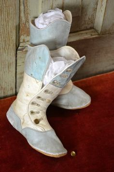 Antique TALL Blue / White Button Boots for Small Child / Large Doll #dollshopsunited
