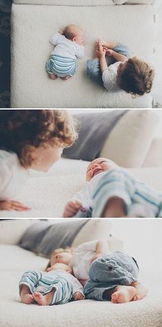 Love this newborn photo shoot with big brother. Sibling love!