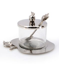 Rosh Hashanah Hammered Stainless Steel Honey Dish with Spoon