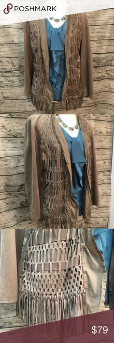 """Chico's Tan Suede Laser Cut Fringe Jacket Sz L Chico's laser Cut Faux Suede Fringe Open Jacket has Grosgrain ribbon woven throughout the open modern lace design. Boho style fringe along the bottom edge of the jacket finish this unique piece off. Chico's size 2 is equivalent to a Women's Large. Sleeves measure 21.5"""" from the top shoulder seam. Tan Suede Open Fringe Jacket by Chico's Sz 2 Women's L Chico's Jackets & Coats"""