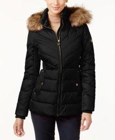 Michael Michael Kors Faux-Fur-Trim Hooded Puffer Coat -