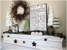 25 Best Christmas Mantels for Holidays -- It's a Marshmallow World in the Winter When the Snow Comes 2 Cover the Ground