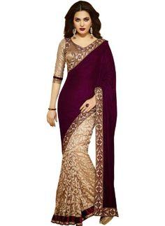 IndusDiva Women's Gold and Maroon Velvet Net and Brasso Half and Half Saree IndusDiva http://www.amazon.com/dp/B00JJO88QG/ref=cm_sw_r_pi_dp_Ng9Wtb12HZ8XRMSR