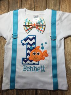 "Boys first birthday ""ofishally one"" shirt with suspenders and bow tie"