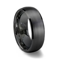 Black Brushed Domed Mens Tungsten Wedding Ring | Black Wedding Band