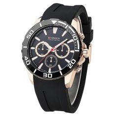 CURREN Fashion Men Brand Quartz watches men's analog military Rubber Sport quartz clock male wristwatch relogio masculino