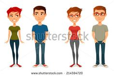 cute cartoon people in casual outfits, with glasses