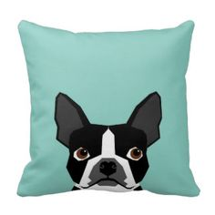 Boston Terrier - Cute dog pet art illustration Pillows