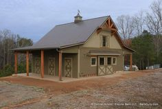 Barn Plans - 3 Stall Horse Barn With dog kennel. Horse Barn Plans for sale. Large selection of Horse Barn Plans For Sale. Small Barn Home, Small Barns, Horse Barn Plans, Barn House Plans, Metal Horse Barns, Cabin Plans, Barn With Living Quarters, Barn Stalls, Barn Shop