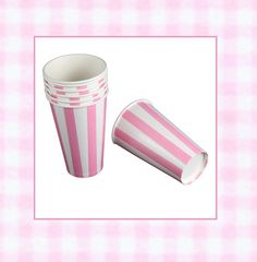 Bubblegum Pink retro striped malt shop paper cups.  Perfect for parties,weddings,baby showers and they make such cute containers for favors and gifts. http://www.jillybeankids.com/ice-cream-containers.html   Jilly Bean Kids