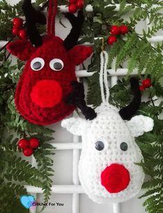 Crochet Rudolf the Reindeer - free pattern at Crochet For You blog. Christmas Ornament Mini CAL
