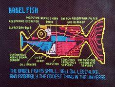 Babel Fish cross stitch pattern Hitchhiker's Guide by jen-random.deviantart.com on @deviantART