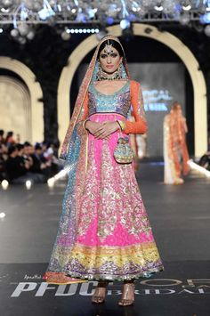 Colorful anarkali by Nomi Ansari at PFDC Bridal Fashion Week 2013