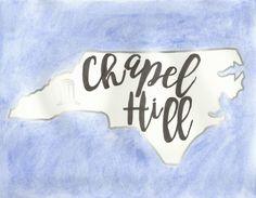 Hand Painted Chapel Hill North Carolina Watercolor, UNC Tarheels