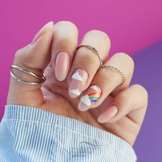 The Classy Almond Nails Designs In New Year - Nail Art Connect Classy Almond Nails, Almond Nail Art, Pale Pink Nails, Blue Nail, White Nail Art, Matte Pink, Blush Pink, Minimalist Nails, Fancy Nails