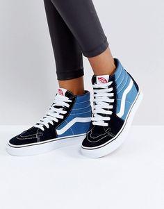 eb21e80a1d Vans Classic Sk8 Hi Sneakers In Blue And Black