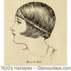 """12 CLASSIC BOB CUTS - 1924.  In 1924 the US National Hairdressers Association published a series of illustrated head profile guides – for women seeking to crop or bob their hair. The headline read """" If you MUST do it – then show these guides to your local barber!"""" Serious business indeed.  Here's the first image: 1920s-hairstyles-Boyish-Bob."""