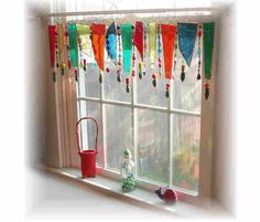 Olive my Kitchen Stained Glass Window Treatment Window Valance...I LOVE this alternative window treatment!