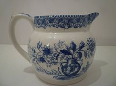 SPODE BLUE ROOM Pitcher. Blue and White Pitcher. Vintage