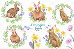 -30% OFF - Watercolor Bunnies KIT by Sunny Illustrations on @creativemarket