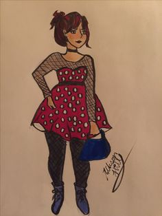 Experimenting with body types, she looks kinda like a human, sassy Minnie Mouse! By @Musicals_Art_I