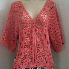 CANTINHO DA ARTE  - MEUS TRABALHOS: Blusa de crochê charmosa