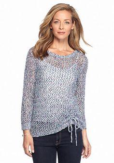 Ruby Rd Pettite Boho Chic Tube Yarn Sweater