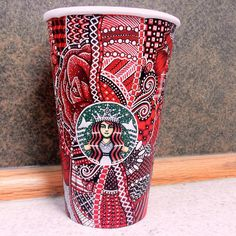 My red starbucks cup design. Easy to do with sharpies, a white gelpen and some copics!