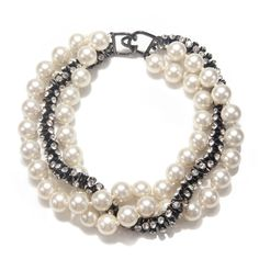 """Pearl and Rhinestone Twisted Chain Necklace. Gunmetal-plated 19"""" Length Hook closure"""