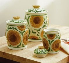 Ceramic Sunflower Kitchen Canister Set. Collections etc