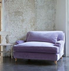 via Rachell Ashwell Shabby Chic washable velvet slipcover, washed worn look.