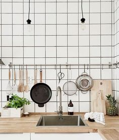 Subway tiles, wood and a brick wall - via cocolapinedesign.com