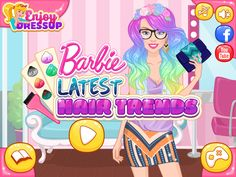 Girls, this summer it's time for new fashion trends. The latest and most gorgeous ones are the very cute rainbow hair and granny hair. Help Barbie with these two styles in the new and exciting game called Barbie Latest Hair Trends! Latest Hair Trends, New Fashion Trends, Play Barbie, Rainbow Hair, Games For Girls, Princess Peach, Cool Hairstyles, Cute, Summer
