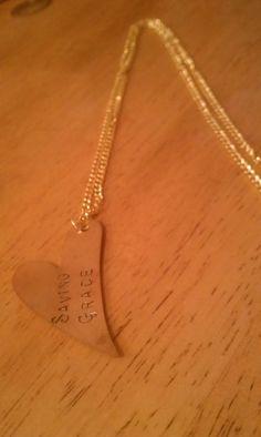 Brass hand stamped necklace by savinggrace28 on Etsy, $10.00