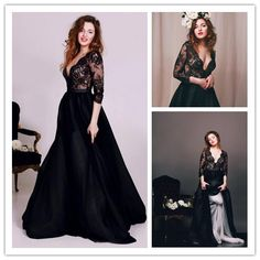 Prom Dress, Black Prom Dress, Deep Prom Dress, V-Neck Prom Dress, Lace Prom Dress, Formal Occasion Dress, Gorgeous Prom Dress, A-Line Prom Dress, 3/4 Long Sleeve Prom Gown