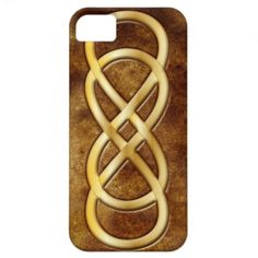 Double Infinity in Gold on Brown Leather - iPhone iPhone 5 Case #doubleinfinity