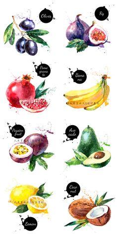 HD hand-painted watercolor splash ink illustration design real fresh fruit ...