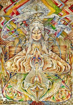 "Veda Ram ""ТИБЕТСКАЯ МАТЬ"" Sacred Feminine, Divine Feminine, Acid Art, Alchemy Symbols, Spirited Art, Visionary Art, Types Of Art, Occult, Beautiful Birds"