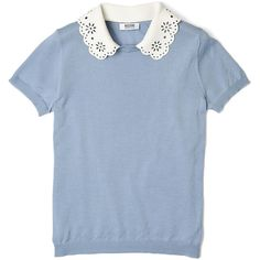 Moschino Cheap & Chic Cutwork Detachable Collar Short Sleeve Jumper (6.985 RUB) ❤ liked on Polyvore featuring tops, sweaters, blouses, shirts, t-shirts, scalloped shirt, blue sweater, short-sleeve shirt, blue shirt and jumper shirt