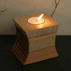 Hand crafted votive, tea light candle holder. created using reclaimed wood, Pine Oak and Pitch Pine