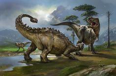 Ankylosaurus and Tyr...