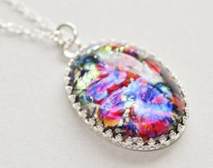 RARE Black Rainbow Opal Necklace,Black Glass Fire Opal,Vintage Harlequin Opal,Sterling Silver Crown Setting,Large Pendant,Faux Opal,OOAK