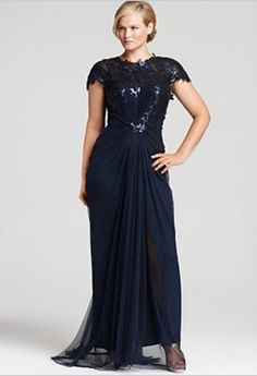 Plus size gowns hiLoUlih | Beautiful! Saw one just like it at http://www.womensuitsupto34.com/ Evening Dresses Plus Size, Plus Size Formal Dresses, Plus Size Gowns, Plus Size Dresses, Debutante Dresses, Tadashi Shoji Dresses, Long Cocktail Dress, Sequin Gown, Groom Dress