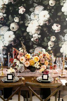 Moody dark wedding table decor: http://www.stylemepretty.com/canada-weddings/ontario/cambridge-ontario/2017/03/23/moody-fall-wedding-inspiration/ Photography: Corina V. - http://corinavphotography.com/