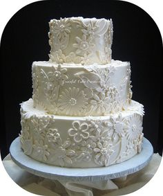 Elegant Ivory Wedding Cake with Fondant Lace Applique by Graceful Cake Creations, via Flickr