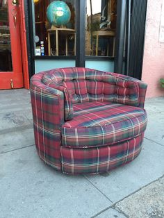 1970s Plaid Swivel Club Chair