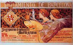 """Alexandre de Riquer (1856 -1920). """"Cartell """"3a Exposición de Bellas Artes e Industrias Artísticas, 1896"""". Cromolitografìa. 99 x 150 cm. Col·l. particular. Barcelona. España."""