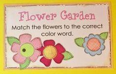 Flower-Garden--File folder game--match flowers to color words